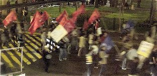 Demonstration gegen die Politik und das Conga Newmont Mining Projekt