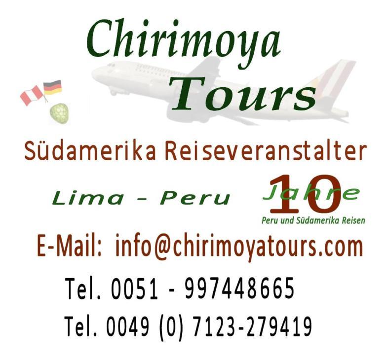 Chirimoya Tours Peru - 19 Jahre Reiseveranstalter Jubiläumslogo.