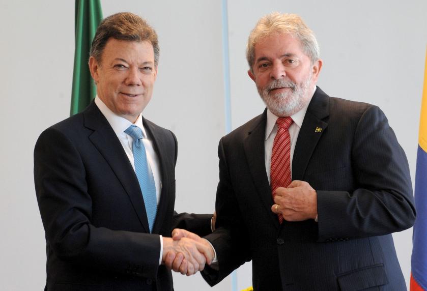 Kolumbien links Juan Manuel Santos der bis 2018 amtierende Präsident von Kolumbien.