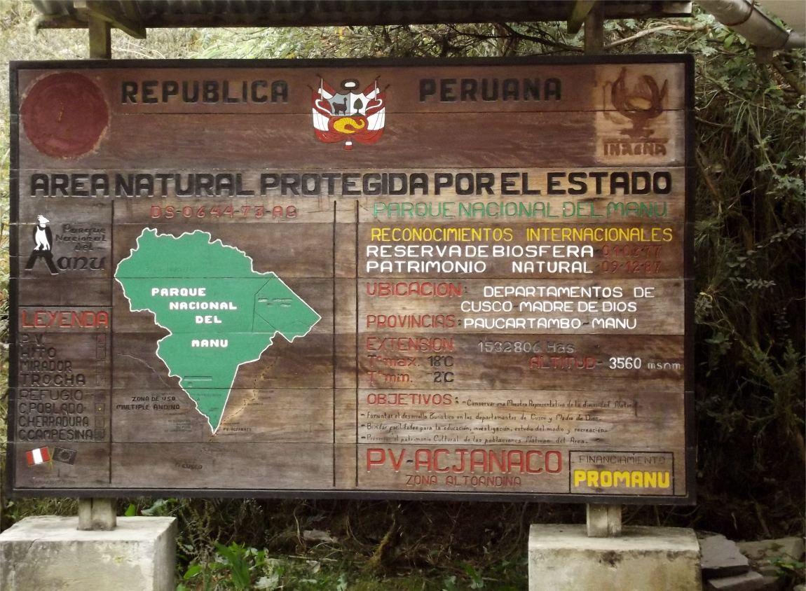 Hinweis Manu Nationalpark