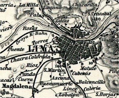Alte Karte von Lima.