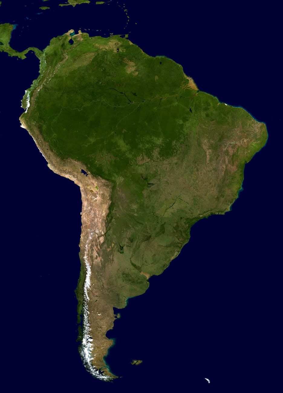 Südmerika Kontinent Karte.